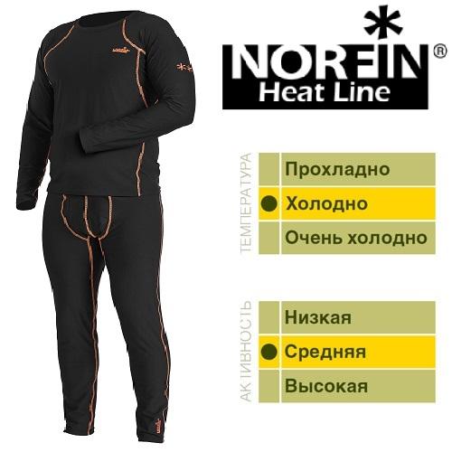 Термобелье Norfin Heat Line (XL, 3034004-XL)Комплекты термобелья<br>Термобелье Norfin HEAT LINE 01 р.S разм.S/кофта, штаны/мат.полиэст./цв.чёрн./темп.холодно/акт.средняя <br>«Дышащее» термобелье, согласно послойной <br>концепции Norfin является термобельем базового <br>слоя для средней физической активности. <br>Белье скроено таким образом, чтобы не стеснять <br>движения тела – оно имеет максимальную <br>эластичность в необходимых зонах. ТЕРМОБЕЛЬЕ: <br>Теплоотращающая фольгированная внутренняя <br>поверхность белья Многозональный крой <br>Эластичный пояс Материал: 100%ПОЛИЭСТЕР<br><br>Пол: мужской<br>Размер: XL<br>Сезон: зима
