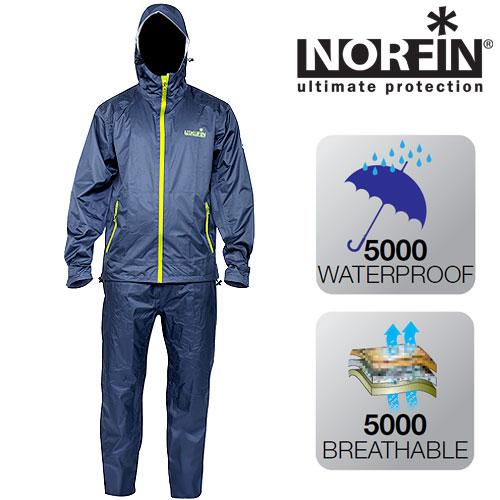 Костюм демисезонный мембранный Norfin Pro Light Костюмы утепленные<br>Костюм идеально подойдет любителям активного <br>отдыха. Материал – легкая тонкая мембранная <br>ткань Nortex Breathable, прекрасно защитит вас от <br>осадков. Все швы качественно проклеены. <br>В сложенном виде костюм занимает очень <br>мало места. В комплект входит куртка и брюки. <br>КУРТКА: - специальный фиксатор, стягивающий <br>низ; - два боковых кармана на влагозащитной <br>молнии; - застегивается на молнию; - усиление <br>материала в районе плечей и в нижней части <br>куртки; - регулируемые манжеты с застежками <br>липучками; - съемный капюшон, имеющий двухуровневую <br>регулировку, что позволяет точно подогнать <br>его под размер головы; - высокий воротник. <br>БРЮКИ: - два боковых кармана на молнии; - <br>пояс на резинке.<br><br>Пол: мужской<br>Размер: XXL<br>Сезон: демисезонный<br>Цвет: синий<br>Материал: мембрана