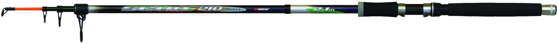 Спиннинг тел. SWD Scud 2,4м (150-300г) (скл. кольцо,чехол)Спинниги<br>Мощный телескопический спиннинг 2,4м тест <br>150-300г изготовленный из стеклопластика. <br>Мощный бланк позволяет далеко забрасывать <br>тяжелые приманки и кормушки. Может использоваться <br>как донная удочка. Наличие последнего складного <br>кольца снижает вероятность повреждения <br>спиннинга при транспортировке. Комплектуется <br>чехлом.<br>