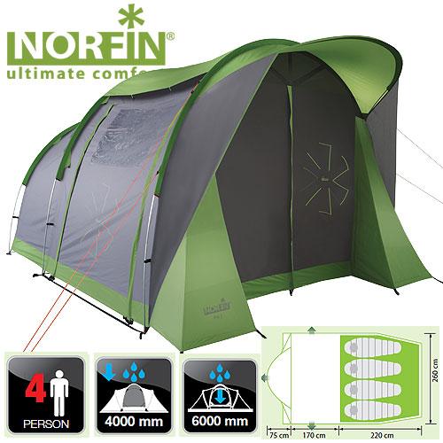 Палатка Алюминиевые Дуги 4-Х Местная Norfin Палатки<br>Кемпинговая палатка с современным оригинальным <br>дизайном может стать большим комфортным <br>домом на время вашего отдыха. Просторный <br>высокий тамбур, просторное спальное место, <br>козырек во фронтальной части, масса полок <br>для вещей во фронтальных боковых колоннах. <br>И все это при облегченной алюминиевой конструкции <br>каркаса позволяют этой модели иметь минимально <br>возможный вес. Все швы палатки герметизированы <br>при помощи термоусадочной водонепроницаемой <br>ленты. Особенности: - двухслойный материал; <br>- с тремя входами; - алюминиевая конструкция <br>каркаса; - увеличенный тамбур; - полки для <br>вещей во фронтальных боковых колоннах; <br>- вход во внутреннюю палатку продублирован <br>антимоскитной сеткой; - вентиляционные <br>окна; - крючок для подвески фонаря; - прозрачные <br>окна в тамбуре; - веревки оттяжек со светоотражающей <br>нитью; - специальный чехол-стяжка для фиксации <br>каждой сложенной веревки; - петли для фиксации <br>скатанного входа. Характеристики: - размер <br>наружной палатки (75+170+220)x260x195 см; - размер <br>внутренней палатки 220x260x140 см; - размер в <br>сложенном виде 68х23х22 см; - материал внутренней <br>палатки 190T breathable polyester - материал дна/ влагостойкость <br>(мм H2O) Polyester 210D Oxford PU/ 6000; - материал каркаса: <br>алюминий; - количество дуг(стоек)/диаметр <br>(мм) 5/9mm,11mm; - материал колышек: сталь.<br><br>Сезон: лето<br>Цвет: серый