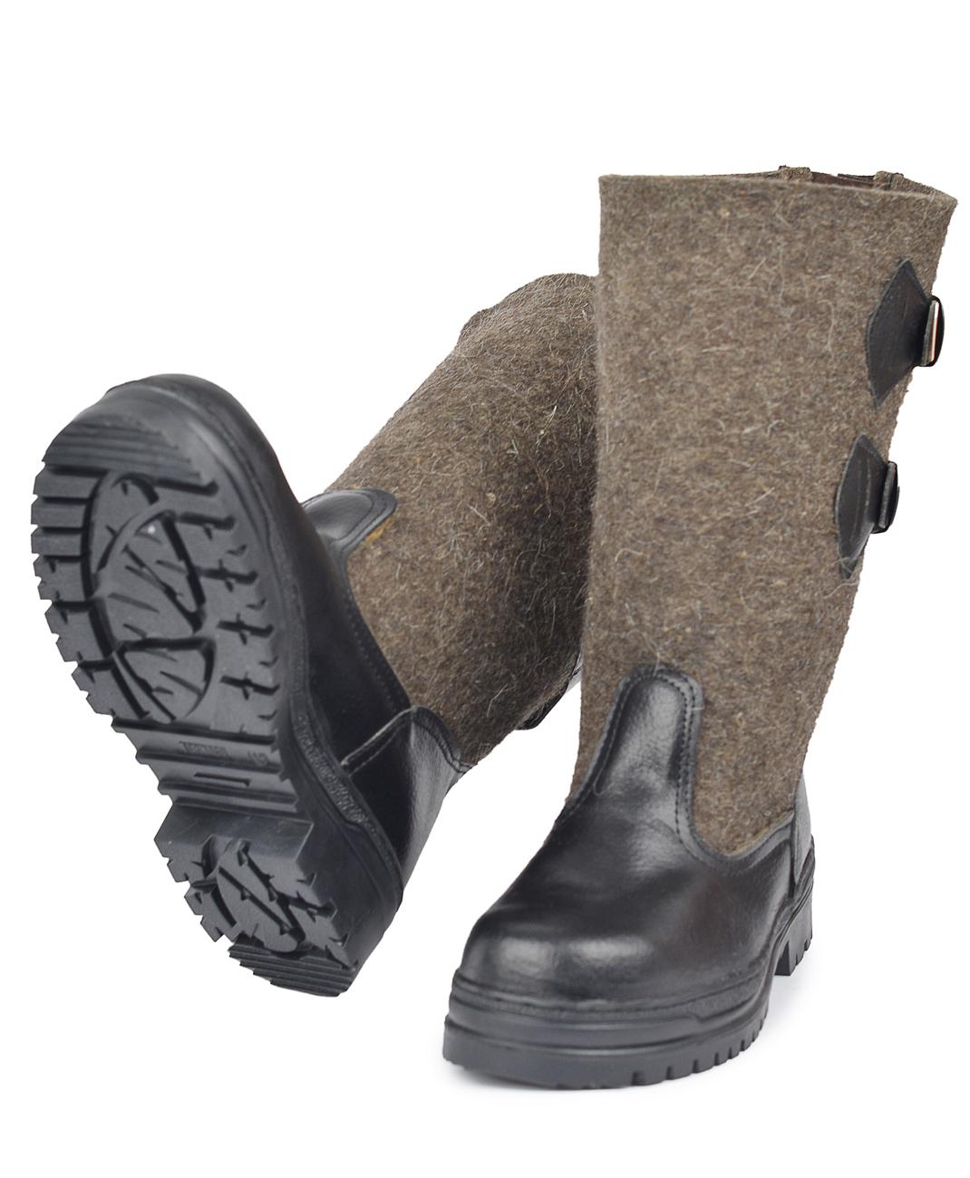 Сапоги войлочные Север LUX,ТЭП(TORNADO) (Неизвестная Сапоги для активного отдыха<br>Союзка и задник обшиты натуральной кожей, <br>что хорошо защищает ноги в слякотную погоду. <br>Предназначены для использования в условиях <br>пониженных температур. Сапоги изготовлены <br>из войлока (грубая натуральная овечья шерсть) <br>с маслобензостойкой подошвой(ТЭП) клеепрошивного <br>метода крепления. Отлично защищают ноги <br>от пониженных температур, нефтепродуктов <br>и общих производственных загрязнений. Голенище <br>разрезное, с задней стороны располагается <br>клин с двумя кожаными регулируемыми застежками, <br>которые позволяют заправлять низ брюк внутрь <br>сапог и затягивать по ноге. Незаменимы в <br>использовании во всех климатических поясах, <br>сохранили в себе все лучшие свойства натуральных <br>валенок, так популярных у нас в стране. А <br>в условиях дефицита и дороговизны последних, <br>являются хорошей альтернативой валенкам. <br>Войлочные сапоги могут быть использованы <br>в различных отраслях промышленности, строительстве, <br>сельском хозяйстве, складском или коммунальном <br>хозяйстве. Высота: 31см<br><br>Пол: мужской<br>Сезон: зима