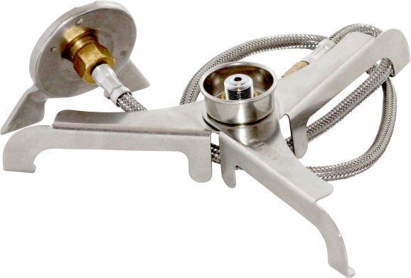 Переходник-адаптер СЛЕДОПЫТ горизонт. Аксессуары<br>Переходник PF-GSA-02 является адаптирующим <br>устройством, которое обеспечивает совместимость <br>газового оборудования использующего для <br>питания газовые баллоны резьбового стандарта <br>с газовыми баллонами нажимного типа использующими <br>цанговый захват, а также служит опорной <br>стойкой для подключения резьбового газовых <br>плит серии S.<br>