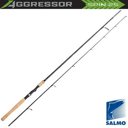 Спиннинг Salmo Aggressor Spin 25 2.40Спинниги<br>Удилище спин. Salmo Aggressor SPIN 25 2.40 дл.2,4м/тест5-25г/строй <br>MF/вес134г/2дл.тр.124 Универсальный спиннинг <br>средней жесткости средне-быстрого строя. <br>Подходит для ловли не только разнообразной <br>рыбы, но и на большинство приманок: «вертушки», <br>колеблющиеся блесны и во- блеры. Классическая <br>компоновка и комплектация спиннинга с ори- <br>гинальным дизайном бланка имеет крепление <br>колен по типу Over Steek. Спиннинг укомплектован <br>кольцами со вставками SIC, и на- дежным винтовым <br>катушкодержателем.<br><br>Сезон: лето