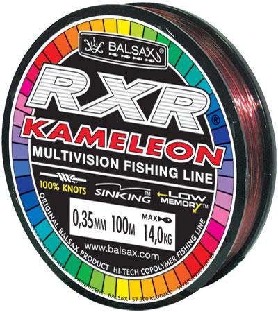 Леска BALSAX RXR Kamelion 100м 0,35 (14кг)Леска монофильная<br>Леска RXR Kamelion - отличается высокой прочностью <br>при растяжении и прочностью в местах вязки <br>узлов. Не меняет форму и не скручивается. <br>Благодаря особым условиям производства <br>способна изменять цвет.<br><br>Сезон: лето
