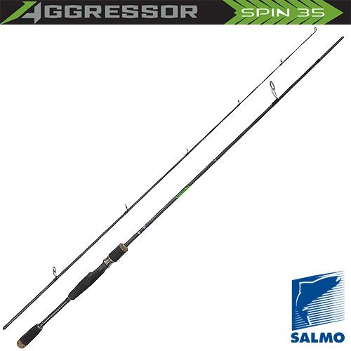 Спиннинг Salmo Aggressor Spin 35 2.10Спинниги<br>Удилище спин. Salmo Aggressor SPIN 35 2.10 дл.2,1м/тест10-35г/строй <br>MF/вес128г/2дл.тр.110 Универсальный спиннинг <br>средней жесткости средне-быстрого строя. <br>Подходит для ловли не только разнообразной <br>рыбы, но и на большинство приманок: «вертушки», <br>колеблющиеся блесны и во- блеры. Классическая <br>компоновка и комплектация спиннинга с ори- <br>гинальным дизайном бланка имеет крепление <br>колен по типу Over Steek. Спиннинг укомплектован <br>кольцами со вставками SIC, и на- дежным винтовым <br>катушкодержателем. Материал бланка удилища <br>- углеволокно (IM7).<br><br>Сезон: лето