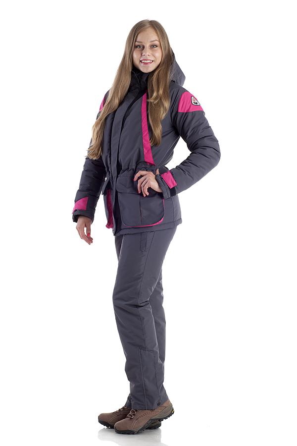 Костюм женский Касатка зимний. тк. мембрана Костюмы утепленные<br>Утеплённый комфортный женский костюм для <br>зимнего активного отдыха. Выполнен из ветронепродуваемой <br>и водонепроницаемой мембранной ткани. Предназначен <br>для защиты от пониженных температур, ветра, <br>атмосферных осадков в зимний период. Отлично <br>сидит на фигуре. Для удобства переобувания <br>по низу штанин расширитель на молнии с планкой. <br>Карман на молнии для мобильного телефона <br>и ключей находиться внутри подборта, что <br>позволяет обладателю костюма доставать <br>мелкие предметы не расстёгиваясь. Двойная <br>ветрозащитная планка защитит от продувания <br>и от промерзания молнии. Куртка •двойная <br>ветрозащитная планка •боковые нагрудные <br>карманы для согрева рук •внутренние карманы <br>на молнии для мобильного телефона и документов <br>•в подборте-карман на застёжке-молния •большие <br>накладные карманы для мелочей •капюшон <br>анатомического кроя с двумя утяжками по <br>глубине и обзору •крепление капюшона к <br>куртке замком-молнией и кнопками •складка <br>на спинке для свободы движения •трикотажные <br>манжеты в рукаве •фиксация патой внизу <br>рукава •внутренняя кулиса Полукомбинезон <br>•регулируемая кулиса по талии •застёжка-гульфик <br>•регулируемые эластичные лямки •два набедренных <br>кармана на молнии •расширитель в нижней <br>части штанин с планкой на молнии Утеплитель <br>- Альполюкс: Сочетание уникального микроволокна <br>и натуральная шерсть мериноса. Волокно <br>создаёт структуру материала, а шерсть повышает <br>его эксплуатационные характеристики и <br>добавляет в копилку преимуществ лечебные <br>свойства. Волокно имеет мелкую структуру, <br>состоящую из тысячи переплетённых нитей. <br>Благодаря этому внутри наполнителя создаётся <br>микроклимат, который поддерживает оптимальную <br>температуру для тела и обладатель одежды <br>не испытывает дискомфорта при повседневном <br>ношении.<br><br>Пол: женский<br>Размер: 56-58<br>Рост: 170<br>Сезон: зима<br>Цвет: фиолет