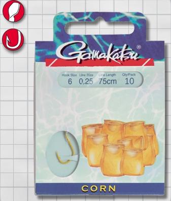 Крючок GAMAKATSU BKS-1130Y Corn 75см №6 d поводка 025 Одноподдевные<br>Оснащенный поводок для ловли на кукурузу, <br>длинной 75 см и диаметром сечения 0,25<br>