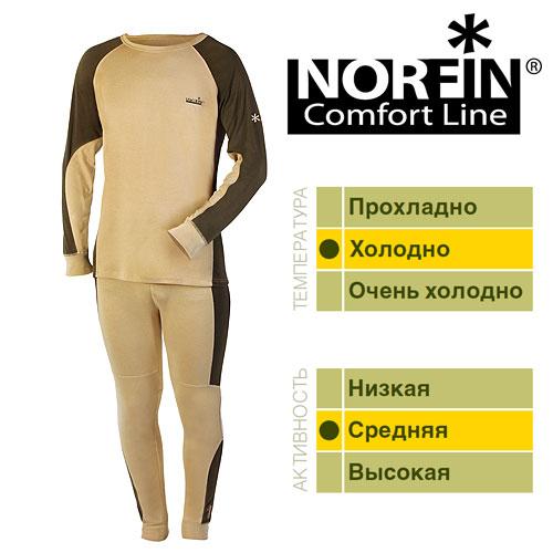 Термобелье Norfin Comfort Line (XL, 3021004-XL)Комплекты термобелья<br>Термобелье Norfin COMFORT LINE 01 р.S разм.S/кофта, <br>штаны/мат.95%полиэст, 5% спандекс/цв.беж с <br>корич. вставк./темп.холодно/акт.средняя <br>Термобелье NORFIN COMFORT LINE. «Дышащее» термобелье, <br>согласно послойной концепции Norfin является <br>термобельем базового слоя для средней физической <br>активности, Белье скроено таким образом, <br>чтобы не стеснять движений тела – оно имеет <br>максимальную эластичность в необходимых <br>зонах. Еще одно положительное достоинство <br>– дополнительные внутренние вставки из <br>микрофлиса в области поясницы и седалища. <br>Вставки служат не только дополнительной <br>защитой от холода, но и создают дополнительный <br>комфорт. ТЕРМОБЕЛЬЕ: Микрофлисовые вставки <br>на пояснице и седалище. Эластичные манжеты <br>на рукавах и штанах. Эластичный пояс. Материал: <br>95% ПОЛИЭСТЕР, 5% СПАНДЕКС.<br><br>Пол: мужской<br>Размер: XL<br>Сезон: зима<br>Цвет: бежевый