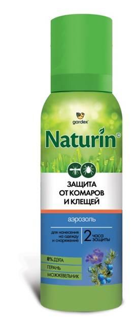 Аэрозоль Gardex Naturin от комаров и клещей на РЕПЕЛЛЕНТЫ И ИНСЕКТИЦИДЫ<br>Аэрозоль для взрослых на одежду и снаряжение <br>Защищает от укусов комаров, мокрецов и москитов, <br>а также клещей и блох Время защиты – 15 суток <br>при нанесении на одежду Содержит 5% Дэты <br>и 0,2% Альфациперметрина С эфирным маслом <br>репеллентных растений – можжевельник и <br>герань<br>