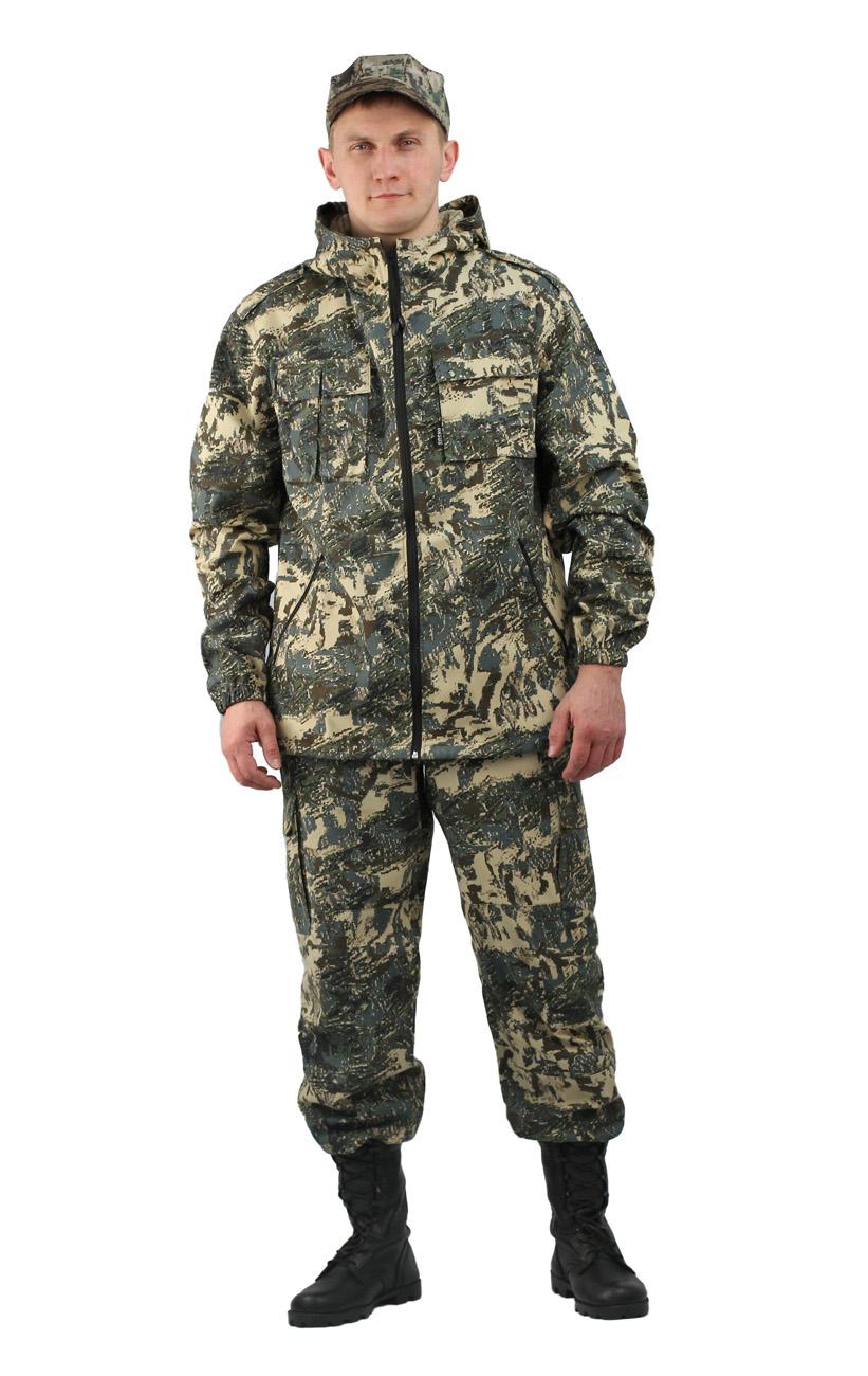 Костюм мужской Турист 2 летний кмф Твилл Костюмы неутепленные<br>Камуфлированный унверсальный летний костюм <br>для охоты, рыбалки и активного отдыха . Состоит <br>из удлинённой куртки с капюшоном и брюк. <br>Куртка: • Регулируемый капюшон. • Центральная <br>застежка молния. • Нагрудные объемные накладные <br>карманы и боковые прорезные карманы на <br>молнии. • Манжеты на резинке. • Для большего <br>комфорта под проймой имеются вентеляционные <br>отверствия Брюки: •Гульфик брюк на молнии. <br>На поясе брюк вставки из эластичной ленты. <br>•Низ штанин регулируется эластичным шнуром. <br>•Удобные объёмные боковые карманы • Фукциональная <br>сумка для хранения костюма.<br><br>Пол: мужской<br>Размер: 44-46<br>Рост: 170-176<br>Сезон: лето<br>Материал: Смесовая (65% полиэфир, 35% хлопок), пл. 210 г/м2,