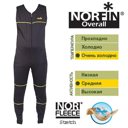 Термобелье Norfin Overall (S, 3028001-S)Комплекты термобелья<br>Термобелье Norfin OVERALL 01 р.S разм.S/полукомб./мат.полиэстер/темп. <br>оч. холодно/активн. сред./цв.черн. Высокотехнологичная <br>модель термобелья, скроенного как комбинезон <br>– удобная и очень комфортная в носке модель, <br>наиболее эффективно удерживающее тепло <br>тела. Современный материал способен растягиваться <br>в 4-х направлениях, не стесняет движений, <br>облегает тело, приятен на ощупь, не продувается <br>ветром, отлично удерживает тепло тела и <br>обладает высокой «дышащей» способностью. <br>Согласно послойной концепции Norfin является <br>термобельем базового слоя при высокой активности <br>и термобельем 2-го слоя при низкой активности <br>Очень приятный в носке эластичный материал. <br>Двухзамковая застежка-молния YKK. Эластичные <br>манжеты на штанах. Материал: NORfleece Stretch (100% <br>полиэстер). эластичная ткань, растягиваемая <br>в 4-х направлениях. износоустойчивая поверхность. <br>хорошая «дышащая» способность. быстро сохнет.<br><br>Пол: мужской<br>Размер: S<br>Сезон: зима<br>Цвет: черный