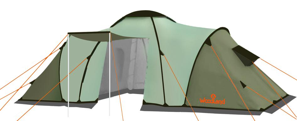 Палатка кемпинговая WoodLand CAMP 6 палатка трехместная с тамбуром двухслойная boyscout 61080