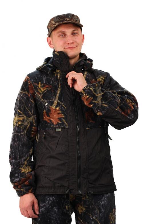 Флисовый костюм Панда кмф Осень с накладками,350г/м2 Костюмы флисовые<br>Куртка мужская прямого силуэта из флиса <br>в комбинации с плащевой тканью. Длина изделия <br>до линии бедер. Полочка с центральной открытой <br>застежкой на тесьму-молнию, горизонтальным <br>членением и настрочной усиливающей кокеткой <br>на верхней части. Нижняя часть полочки с <br>настрочным усиливающим карманом. Вход в <br>карман обработан на тесьму-молнию. Спинка <br>со средним швом и усиливающей настрочной <br>кокеткой. Рукав втачной одношовный, с усиливающей <br>фигурной накладкой в области локтя. В низ <br>рукава вставлена тканево-резиновая тесьма. <br>По верхнему краю воротника-стойки и низу <br>изделия настрочена утягивающая кулиса. <br>Брюки свободного покроя с карманами в боковых <br>швах. Верхний срез брюк с цельновыкроенным <br>поясом, в пояс вставлена тканево-резиновая <br>тесьма, простроченная посередине. Наколенники <br>из отделочной ткани.<br><br>Пол: унисекс<br>Размер: 48-50<br>Рост: 170-176<br>Сезон: все сезоны<br>Цвет: темно-серый<br>Материал: Флис, пл.350г/м2, антипилинговый