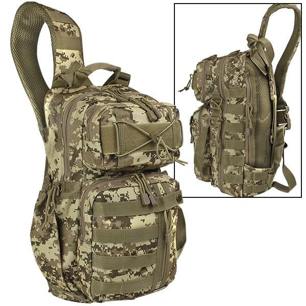 Рюкзак Roe Sling Pack TPB006FLT (DG05)Рюкзаки<br>Рюкзак Roe Sling Pack TPB006FLT Тактический рюкзак <br>FieldLine Roe Sling Pack на одной лямке выполненный <br>из особо прочной ткани. В основном отделении <br>на молнии располагаются три просторных <br>кармана открытого типа и два сетчатых кармана <br>на молнии. Во вместительном отделении спереди <br>располагаются два больших кармана открытого <br>типа и карабин. Снаружи отделения находится <br>просторный карман на молнии. Также спереди <br>дополнительно имеется небольшое отделение <br>на молнии с карманом отрытого типа и тремя <br>держателями в виде резинок внутри отделения. <br>Сбоку карман открытого типа с утяжкой для <br>бутылок. Регулируемый по длине плечевой <br>ремень с защелкой-фастексом обеспечивает <br>удобную переноску. - размер 46x23x18 см. - объем <br>29 л. - размер упаковки 480x290x70 мм - размер в <br>собранном виде 46x23x18 см - вес без упаковки <br>900 г - материал полиэстер - цвет камуфляж<br><br>Пол: унисекс<br>Цвет: оливковый