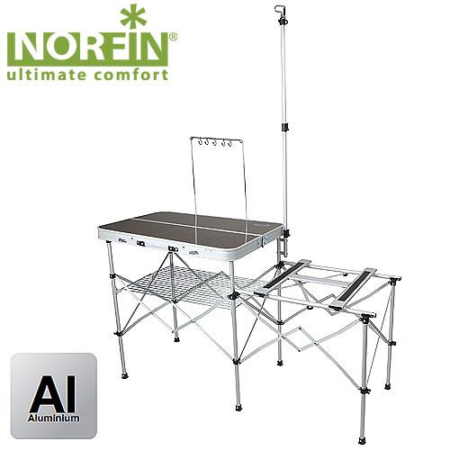 Стол-Кухня Складной Norfin Syndle NflСтолы<br>Складная кемпинговая кухня предназначена <br>для создания комфортных условий в туристических <br>походах, охоте, рыбалке и кемпинге. В ней <br>есть подставка под плиту, просторная рабочая <br>поверхность, подвес для кухонных инструментов, <br>решетка для хранения, кронштейн для лампы. <br>Складывается в компактный чемоданчик. Комплектуется <br>сумкой-чехлом для удобства транспортировки. <br>Особенности: - габариты 82x83x81 см; - размер <br>в сложенном виде 84x12,5x30 см; - максимальная <br>нагрузка 30 кг; - каркас из алюминия 19 мм.<br><br>Материал: МДФ