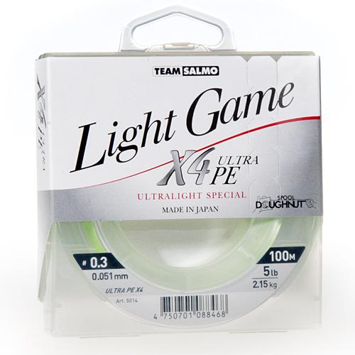 Леска Плетеная Team Salmo Light Game Fine Green X4 100/005Леска плетеная<br>Леска плет. Team Salmo LIGHT GAME Fine Green X4 100/005 дл.100м/диам. <br>0.051мм/тест 2.15кг/инд.уп. Высококачественный <br>РЕ шнур спортивного класса, сплетенный <br>из 4-х прядей. Шнур специально разработан <br>для ловли лайтовыми и ультралайтовыми сна- <br>стями. Изготавливается диаметром от 0,042 <br>до 0, 064мм, с разрывной нагруз- кой 4-6 lb. Поставляется <br>в индивидуальной упаковке в размотке по <br>100м. Шнур производится только в Японии. • <br>высокая прочность, • круглое калиброванное <br>сечение, • повышенная износостойкость, <br>• высочайшая чувствительность, • яркая <br>светло-зеленая расцветка.<br><br>Цвет: зеленый