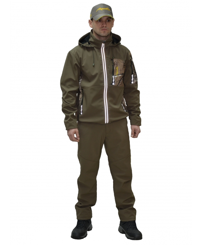 Костюм Aquatic К-05Ф (soft shell, falcon) (54-56)Костюмы мембранные<br>Легкий костюм Aquatic К-05 предназначен для <br>рыбалки, охоты и туризма. Материал Soft Shell <br>с мембраной 5000/5000 мм, на основе японского <br>стандарта. Капюшон с утяжками, при надобности <br>убирается в воротник. Высокий воротник <br>надежно защищает лицо от ветра. Нагрудный <br>карман на молнии с вышивкой-логотипом для <br>документов. Большие вместительные боковые <br>карманы на молнии. 1 карман на рукаве для <br>мелочей. Рукава с внутренними трикотажными <br>манжетами. Светоотражающие накатки по бокам <br>молнии. Регулируемая ширина по низу куртки. <br>Температурный режим до +15°С.<br><br>Пол: мужской<br>Размер: 54-56<br>Сезон: демисезонный<br>Цвет: оливковый
