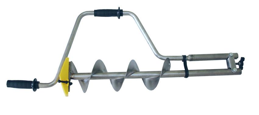 Ледобур Титан ТЛР-130Д-2НТР (2 ножа, телеск. Ледобуры ручные<br>Двухножевой титановый ледобур с телескопической <br>рукояткой, увеличенной длиной шнека и увеличенным <br>количеством витков шнека. Диаметр бурения <br>130 мм, глубина бурения - до 1400 мм. Масса - 1,70 <br>кг. Титановые ледобуры имеют две выдающиеся <br>характеристики - чрезвычайно низкий вес <br>и высокая прочность. Титан не подвержен <br>коррозии и очень долговечен.<br>