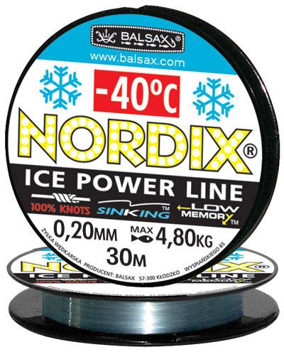 Леска BALSAX Nordix 30м 0,20 (4,8кг)Леска монофильная<br>Леска Nordix - создана специально для зимней <br>ловли. Очень хорошо выдерживает низкую <br>температуру. Поверхность обработана таким <br>образом, что она не обмерзает как стандартные <br>лески. Отлично подходит для подледного <br>лова. Даже в самом холодном климате, при <br>температуре до -40, она сохраняет свои свойства.<br><br>Сезон: зима