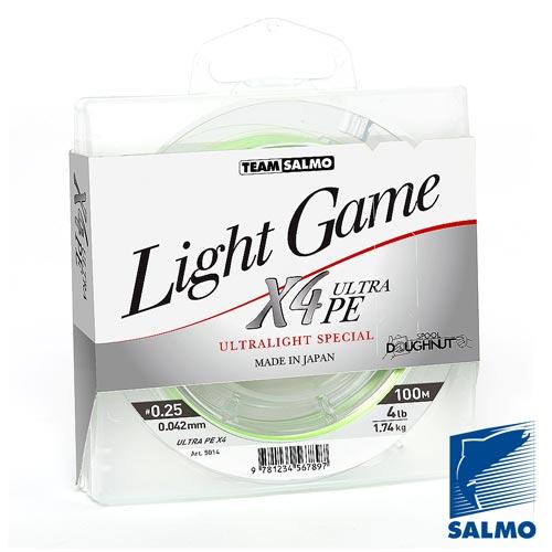 Леска Плетеная Team Salmo Light Game Fine Green X4 100/004Леска плетеная<br>Леска плет. Team Salmo LIGHT GAME Fine Green X4 100/004 дл.100м/диам. <br>0.042мм/тест 1.74кг/инд.уп. Высококачественный <br>РЕ шнур спортивного класса, сплетенный <br>из 4-х прядей. Шнур специально разработан <br>для ловли лайтовыми и ультралайтовыми сна- <br>стями. Изготавливается диаметром от 0,042 <br>до 0, 064мм, с разрывной нагруз- кой 4-6 lb. Поставляется <br>в индивидуальной упаковке в размотке по <br>100м. Шнур производится только в Японии. • <br>высокая прочность, • круглое калиброванное <br>сечение, • повышенная износостойкость, <br>• высочайшая чувствительность, • яркая <br>светло-зеленая расцветка.<br><br>Цвет: зеленый
