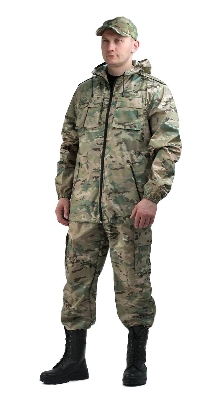 Костюм мужской Турист летний кмф Мультикам Костюмы неутепленные<br>Камуфлированный унверсальный летний костюм <br>для охоты, рыбалки и активного отдыха . Состоит <br>из удлинённой куртки с капюшоном и брюк. <br>Куртка: • Регулируемый капюшон. • Центральная <br>застежка молния. • Нагрудные объемные накладные <br>карманы и боковые прорезные карманы на <br>молнии. • Манжеты на резинке. • Для большего <br>комфорта имеется вентиляция: спинка с отлетной <br>кокеткой, под проймой вентиляционные отверстия <br>из сетки Брюки •Гульфик брюк на молнии. <br>На поясе брюк вставки из эластичной ленты. <br>•Низ штанин регулируется эластичным шнуром. <br>•Удобные объёмные боковые карманы • Фукциональная <br>сумка для хранения костюма. ДЛЯ БОЛЕЕ НАДЁЖНОЙ <br>ЗАЩИТЫ ОТ ПРОТЕКАНИЯ ВСЕ ШВЫ ПРОКЛЕЕНЫ<br><br>Размер: 52-54<br>Рост: 170-176