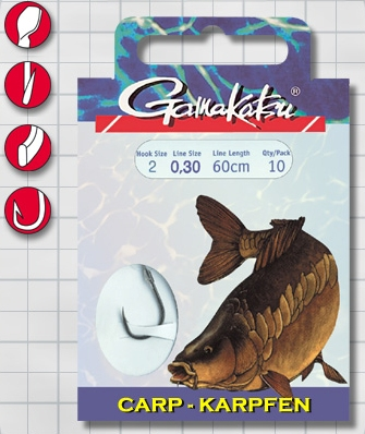 Крючок GAMAKATSU BKS-3510F Carp 60см №4 d поводка 025 Одноподдевные<br>Оснащенный поводок для ловли карпа, длинной <br>60 см и диаметром сечения 0,25<br>