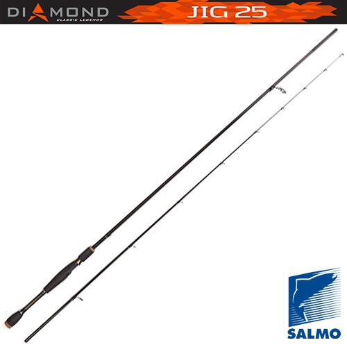 Спиннинг Salmo Diamond Jig 25 2.10Спинниги<br>Удилище спин. Salmo Diamond JIG 25 2.10 дл.2,1м/тест5-25г/строй <br>M/вес104г/2дл.тр.110 Спиннинговое удилище среднего <br>строя разрабатывалось для ловли на джиг-приманки. <br>В бланк спиннинга вклеена очень чувствительная <br>вершинка, что позволяет обеспечить качественный <br>контроль проводки приманки. Легкий бланк <br>спиннинга изготовлен из графита im7 и имеет <br>соединение колен по типу over steek. Укомплектован <br>кольцами со вставками sic ? Материал бланка <br>удилища – углеволокно(im7) ? Строй бланка <br>средний ? Класс спиннинга ml ? Конструкция <br>штекерная ? Соединение колен типа OVersTeek <br>Кольца пропускные: – усиленное одноопорное <br>– со вставками sic Рукоятка: – неопреновая <br>Катушкодержатель: – винтового типа<br><br>Сезон: лето