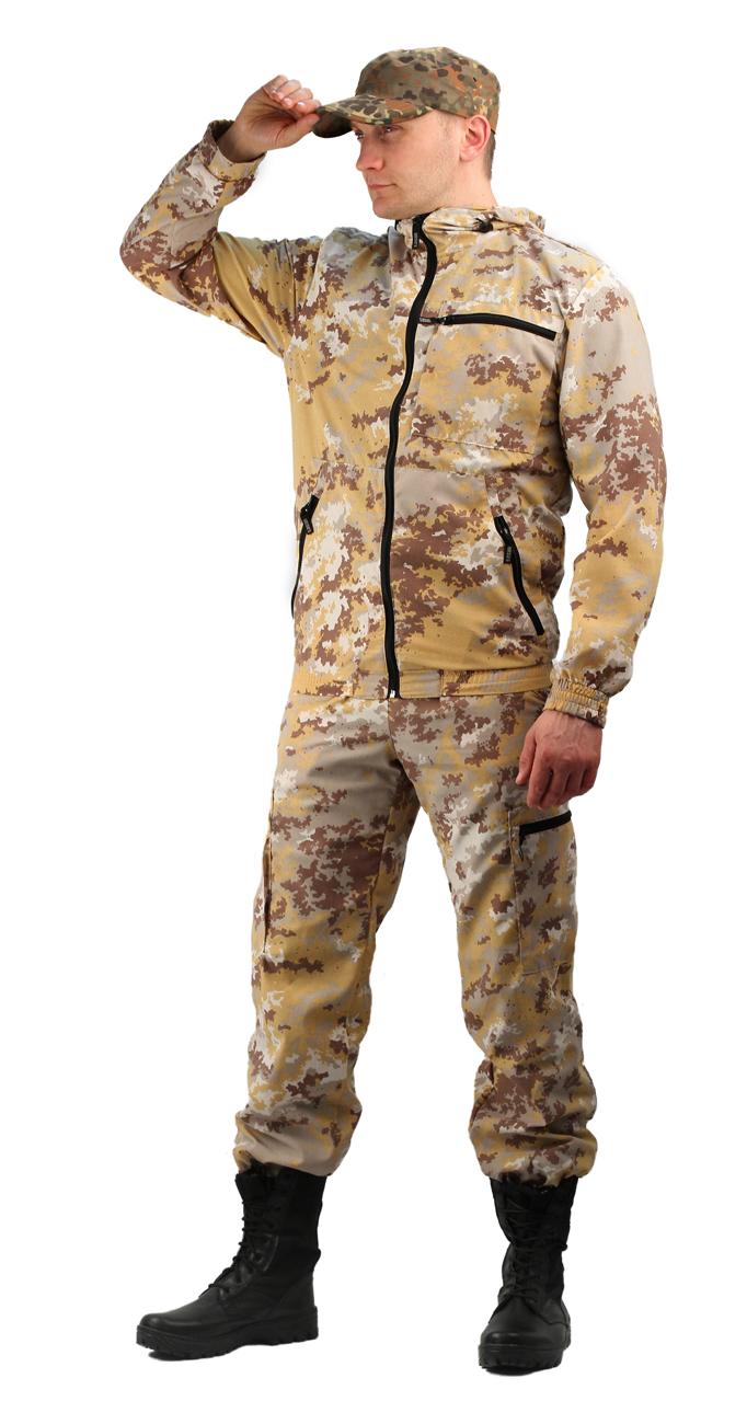 Костюм мужской Турист 1 летний, тк.Тиси Костюмы неутепленные<br>Камуфлированный унверсальный летний костюм <br>для охоты, рыбалки и активного отдыха . Состоит <br>из куртки с капюшоном и брюк. Куртка: • Регулируемый <br>капюшон. • Центральная застежка молния. <br>• Боковые и нагрудный прорезные карманы <br>на молнии. • Низ куртки и манжеты на резинке. <br>Брюки: • Два врезных кармана и два накладных <br>на молнии. • Пояс и низ брюк на резинке.<br><br>Пол: мужской<br>Размер: 44-46<br>Рост: 158-164<br>Сезон: лето<br>Цвет: бежевый
