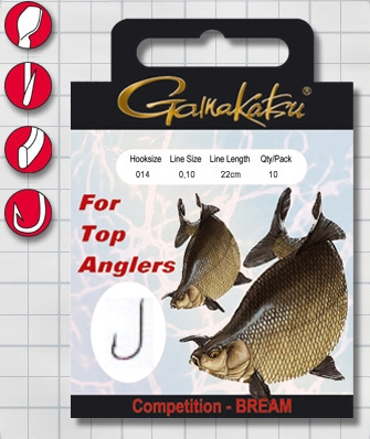 Крючок GAMAKATSU BKS-1100B Bream 22см Comp №16 d поводка Одноподдевные<br>Оснащенный поводок для ловли леща в условиях <br>соревнований, длинной 22 см и диметром сечения <br>0,10<br>