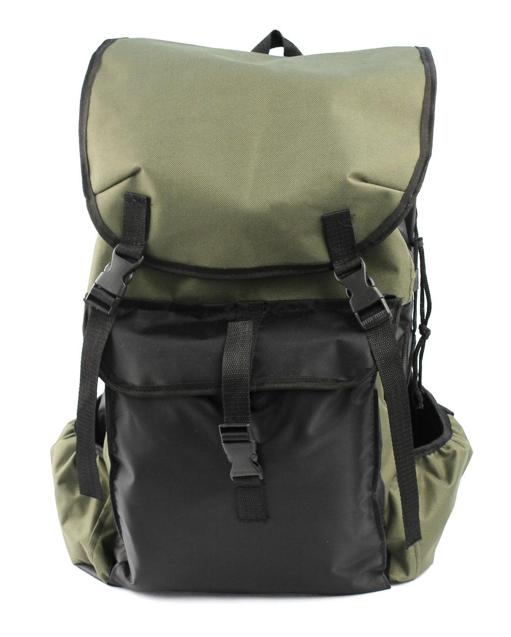 Рюкзак Рыбалка 50 литровРюкзаки<br>Недорогой практичный рюкзак РЫБАЛКА выполнен <br>из ткани оксфорд 600D с водоотталкивающей <br>пропиткой, которая защищает от осадков <br>и облегчает чистку изделия. Упрощенная <br>конструкция имеет один основной отсек, <br>горловина которого утягивается шнуром <br>и фиксируется при помощи кулиски. Для максимальной <br>защиты рюкзак закрывается откидным клапаном <br>с фиксацией на два ремешка с фастексами. <br>Извне имеются три накладных карман. По бокам <br>предусмотрена шнуровка для утяжки. Анатомическая <br>прокладка на спинке. Плечевые лямки регулируются <br>по росту. Подходит для охоты, рыбалки и активного <br>отдыха.<br><br>Пол: унисекс<br>Цвет: оливковый