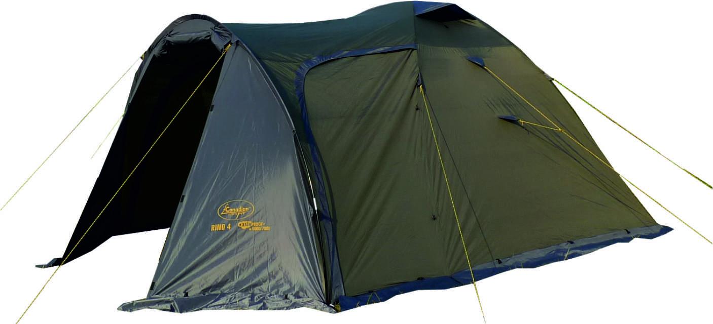 Палатка Canadian Camper RINO 4 (цвет forest дуги 9,5 мм)Палатки<br>Особенности: - увеличенный тамбур; - 4 входа.<br><br>Сезон: лето<br>Цвет: оливковый