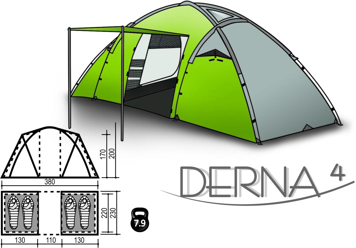 Палатка DERNA 4 палатка трехместная с тамбуром двухслойная boyscout 61080