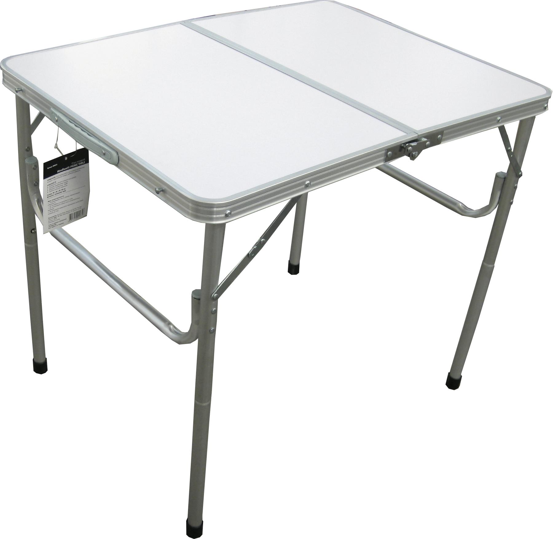 Стол Woodland Picnic Table Luxe, складной, 80 x 60 x 67 см Столы<br>МОДЕЛЬ: Picnic Table U С отверстием под зонт. МАТЕРИАЛЫ: <br>Алюминий МДФ РАЗМЕР: 120 x 60 x 67 см. ВЕС: 3,2 кг. <br>Компактная складная конструкция. Прочный <br>алюминиевый каркас. Материал столешницы <br>- МДФ. Удобная ручка для переноски. Максимально <br>допустимая нагрузка 30 кг.<br>