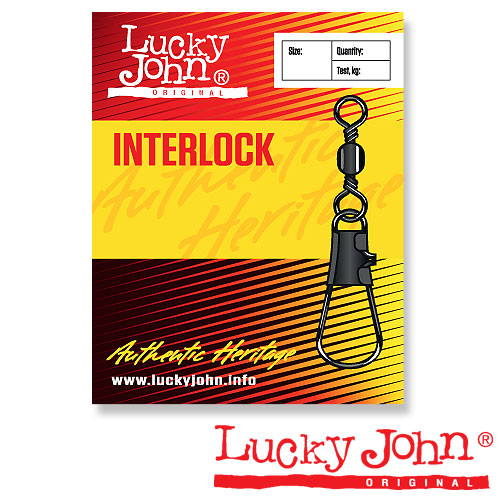 Вертлюги C Застежкой Lucky John Barrel And Interlock Black • 020 10Шт.