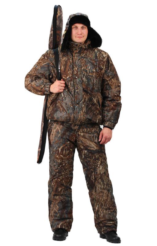 Костюм мужской Вихрь зимний кмф алова Костюмы утепленные<br>Камуфлированный универсальный костюм <br>для охоты, рыбалки и активного отдыха при <br>низких температурах. Состоит из укороченной <br>куртки с капюшоном и полукомбинезона. Куртка: <br>• Регулируемый втачной капюшон - воротник <br>на флисовой подкладке. • Центральная застежка <br>- молния закрыта ветрозащитной планкой <br>на кнопках. • Внутренняя планка, закрывающая <br>верхний край молнии. • Нижние накладные <br>карманы, нагрудный прорезной карман на <br>молнии. • На рукаве накладной, объемный <br>карман под мобильный телефон. • Низ куртки <br>и манжеты на широкой резинке. Полукомбинезон: <br>• С центральной застежкой на молнию и ветрозащитной <br>планкой. • Высокая грудка и спинка. • Два <br>передних , один задний накладных кармана <br>и один на груди с клапаном на кнопках. • <br>Мягкие регулируемые бретели с эластичной <br>лентой. • Низ полукомбинезона регулируется <br>молнией.<br><br>Пол: мужской<br>Размер: 44-46<br>Рост: 182-188<br>Сезон: зима<br>Цвет: коричневый<br>Материал: Алова 100% полиэстер