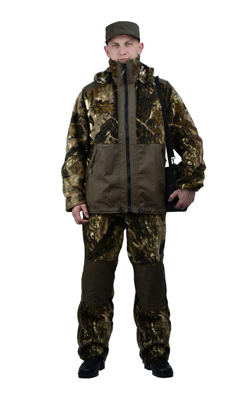 Флисовый костюм Панда кмф Серый каштан Костюмы флисовые<br>Куртка мужская прямого силуэта из флиса <br>в комбинации с плащевой тканью. Длина изделия <br>до линии бедер. Полочка с центральной открытой <br>застежкой на тесьму-молнию, горизонтальным <br>членением и настрочной усиливающей кокеткой <br>на верхней части. Нижняя часть полочки с <br>настрочным усиливающим карманом. Вход в <br>карман обработан на тесьму-молнию. Спинка <br>со средним швом и усиливающей настрочной <br>кокеткой. Рукав втачной одношовный, с усиливающей <br>фигурной накладкой в области локтя. В низ <br>рукава вставлена тканево-резиновая тесьма. <br>По верхнему краю воротника-стойки и низу <br>изделия настрочена утягивающая кулиса. <br>Брюки свободного покроя с карманами в боковых <br>швах. Верхний срез брюк с цельновыкроенным <br>поясом, в пояс вставлена тканево-резиновая <br>тесьма, простроченная посередине. Наколенники <br>из отделочной ткани.<br><br>Пол: мужской<br>Размер: 40-42<br>Рост: 170-176<br>Сезон: лето<br>Материал: Флис, пл.350г/м2, антипилинговый