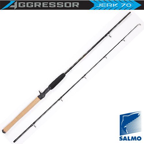 Спиннинг Salmo Aggressor Jerk 70 1.80Спинниги<br>Удилище спин. Salmo Aggressor JERK 70 1.80 дл.1.80м/тест <br>20-70г/строй F/кл.H/135г/2ч./дл.тр.95см Специальное <br>мультипликаторное спиннинговое удилище <br>для ловли рывковой проводкой средними и <br>крупными джеркбейтами. Жесткое, с быстрым <br>строем, удилище обеспечит приманке необходимую <br>рывковую проводку и «укротит» самые мощные <br>рывки рыбы. Бланк спиннинга изготовлен <br>из графита IM7 с креплением колен по типу <br>Spigot Joint, он укомплектован кольцами со вставками <br>SIC и комбинированной рукоятки из пробки <br>и неопрена. Крепление мультипликаторной <br>катушки осуществляется при помощи верхней <br>резьбовой ручки. • Материал бланка удилища <br>– углеволокно (IM7) • Строй бланка быстрый <br>• Класс спиннинга H • Конструкция штекерная <br>• Соединение колен типа OVER STEEK Кольца пропускные: <br>– усиленные низкие – со вставками SIC – <br>под мультипликаторную катушку Рукоятка: <br>– комбинированная Катушкодержатель: - винтового <br>типа с триггером • Проволочная петля для <br>закрепления приманок<br><br>Сезон: лето