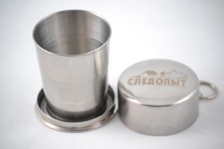 Стакан походный складной ср. СЛЕДОПЫТ 150млКружки, стаканы<br>Тип: стакан Материал: нержавеющая сталь <br>Производитель: Следопыт Объем: 150мл<br>