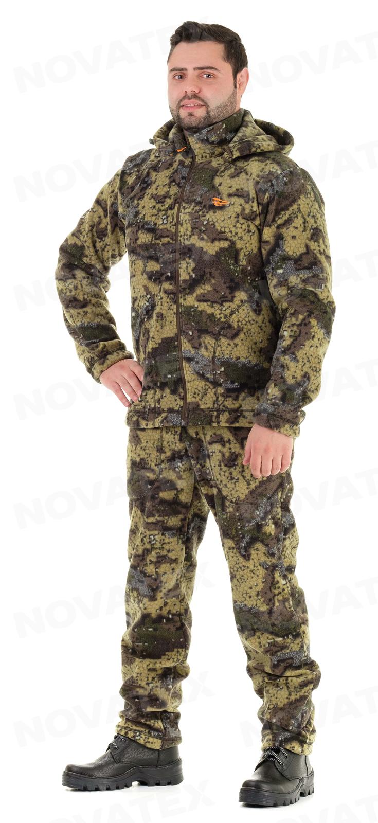 Костюм «Зортон» (флис, геометрия хаки) PRIDE Костюмы флисовые<br>Ткань: флис (100% полиэстр, плотность 280 г/кв.м) <br>Универсальный костюм «Зортон» (ТМ «Pride») <br>от компании Novatex. Благодаря своему материалу <br>и покрою может использоваться как самостоятельный <br>костюм, так и в качестве утеплителя под <br>верхнюю одежду. Костюм «Зортон» состоит <br>из длинной куртки с отстегивающимся капюшоном <br>и брюк прямого покроя с утяжками по низу <br>брючин. Для изготовления использован современный <br>материал флис повышенной плотности: теплый, <br>мягкий, эластичный материал, практически <br>не впитывающий влагу и обладающий повышенной <br>износостойкостью.<br><br>Пол: мужской<br>Сезон: демисезонный<br>Цвет: оливковый