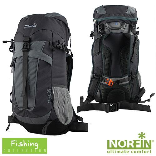 Рюкзак Norfin 4Rest 35 NfРюкзаки<br>Рюкзак Norfin 4REST 35 NF Материал polyester600DhoneycombripstopPU/600DPU;/вес1,1кг/размер56х27х15/объем35л <br>Многофункциональный городской рюкзак. <br>-Имеет три рабочие зоны с сеткой Air Mesh, хорошо <br>отводится избыточное тепло и влага при <br>нагрузках. -Поясной ремень -Грудная стяжка <br>со свистком -Выход под питьевую систему <br>-Фронтальный карман -Боковые карманы из <br>сетки -Верхний клапан с внешним карманом <br>Материал Material:polyester600DhoneycombripstopPU/600DPU; Объем <br>35л<br><br>Пол: унисекс<br>Сезон: все сезоны