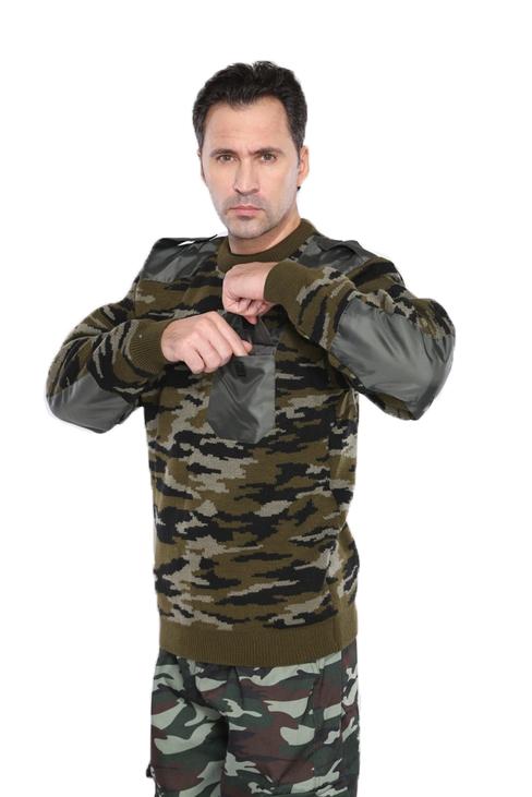 Джемпер кмф лес с накладками (44-46, 170-176)Свитера<br>Джемпер трикотажный с круглой горловиной <br>и с усилительными накладками в области <br>плеч и локтей из водоотталкивающей ткани, <br>а также погоны и накладной карман. Рекомендуется <br>использовать с костюмами зимнего ассортимента, <br>в т.ч. с костюмами охранника и как самостоятельную <br>модель. Вывязанная резинка по низу изделия <br>и рукавов. Накладки: Оксфорд(100% полиэфир) <br>Размер: 44-62, роста: 170-188<br><br>Пол: мужской<br>Размер: 44-46<br>Рост: 170-176<br>Сезон: все сезоны<br>Материал: текстиль