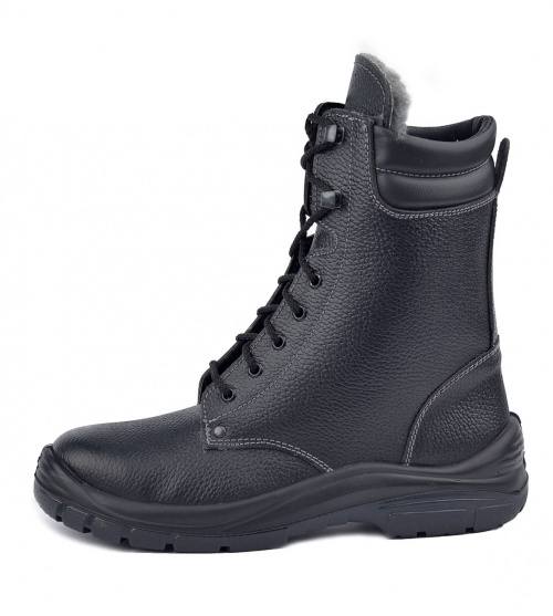Ботинки с высоким берцем Профит на шерстяном Берцы<br>Универсальная высокотехнологичная модель <br>обеспечит комфорт и надежную защиту Ваших <br>ног, но главное – снизит травматизм. Верх <br>ботинок выполнен из натуральной кожи повышенной <br>толщины 2,0-2,2мм. Шерстяной мех высокой плотности <br>сохраняет тепло даже в сильный мороз. Двухслойная <br>ПУ/ТПУ подошва обеспечивает хорошее сцепление <br>с поверхностью при температуре от -45 до <br>+120С в статическом положении, а при ходьбе <br>до +150С. Подошва устойчива к воздействию <br>агрессивных сред, МБС, КЩС. Вся область каблука <br>специально спроектирована таким образом, <br>чтобы поглощать удар (амортизировать) при <br>толчке и снижать ощущение усталости, передаваемое <br>на тело. Толщина подошвы обеспечивает отличную <br>теплоизоляцию. Самоочищающийся протектор. <br>Высота берец 225мм. ГОСТ28507-99, ГОСТ12.4.137-2001, <br>ТР ТС019/2011<br><br>Пол: мужской<br>Размер: 44<br>Сезон: зима<br>Цвет: черный<br>Материал: натуральная кожа