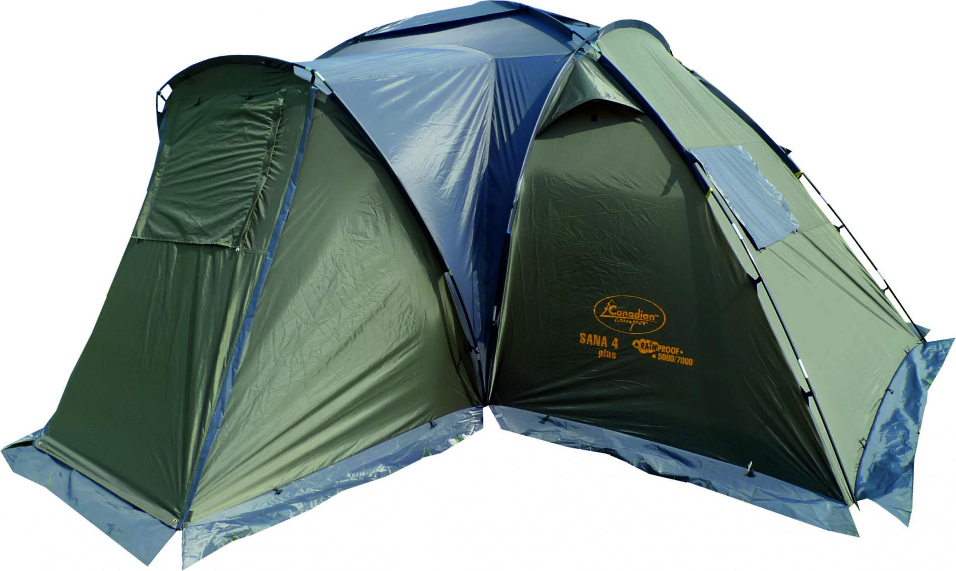 Палатка Canadian Camper SANA 4 PLUS (цвет forest дуги 11/9,5 Палатки<br>Особенности: - просторный тамбур; - 7 вентиляционных <br>окон; - два входа с антимоскитными сетками; <br>- дополнительная «веранда».<br><br>Сезон: лето<br>Цвет: зеленый