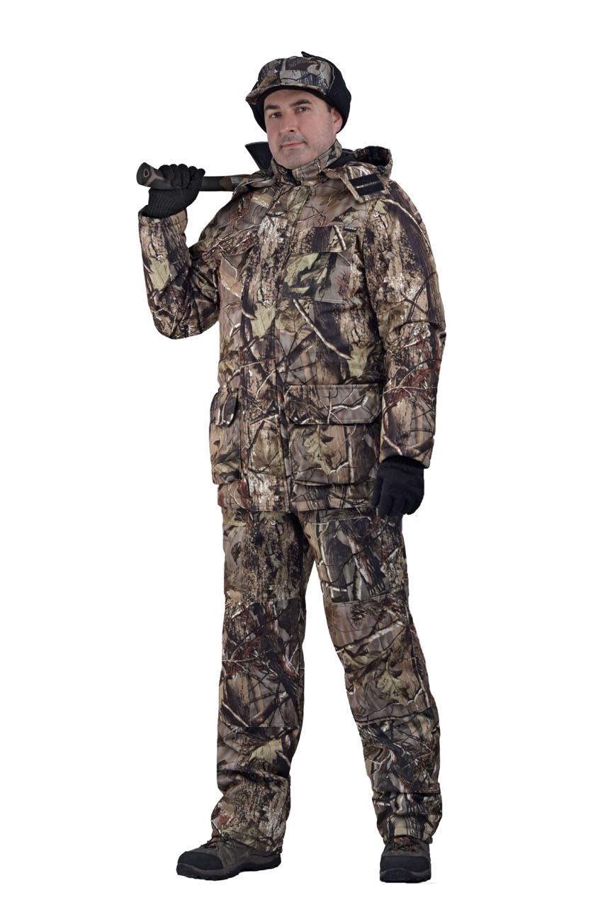 Костюм мужской Nordwig Buran демисезонный кмф Костюмы утепленные<br>Камуфлированный универсальный костюм <br>для охоты, рыбалки и активного отдыха при <br>низких температурах. Не шуршит. Состоит <br>из удлинненной куртки с капюшоном и полукомбинезона. <br>Куртка: • Отстегивающийся и регулируемый <br>капюшон. • Центральная застежка молния <br>с ветрозащитной планкой и контактной лентой. <br>• Боковые и нагрудные накладные карманы <br>с клапанами. • Усиление в области локтей. <br>• Манжеты на резинке Полукомбинезон: • <br>Закрывает грудь и спину. • Застежка с двухзамковой <br>молнией. • Боковые карманы. • Бретели регулируемые. <br>• Талия регулируется резинкой • Наколенники <br>с отверстиями для амортизационных накладок.<br><br>Пол: мужской<br>Размер: 60-62<br>Рост: 182-188<br>Сезон: демисезонный<br>Цвет: коричневый