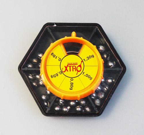 Набор грузов большой (70гр.) (XTRO)Грузила наборы<br>Набор дробинок в коробочке с удобным перемещающемся <br>окошком<br>