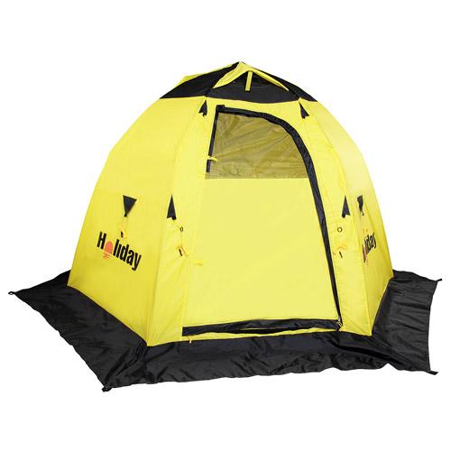 Палатка Рыболовная Зимняя Holiday Easy Ice 6 Угл. Палатки зимние<br>Палатка рыболов. зим. Holiday EASY ICE 6 угл. 210x245 <br>x155 дуг./карк. стекловолокно диам 8мм/п-авт./разм. <br>210х245х155 см/тр. разм. 104х15х15 см/ вес 4,130 кг. <br>Полуавтоматическая палатка, открывающаяся <br>по типу зонтика. Каркас – трубчатое стекловолокно <br>диаметром 8 мм. Жесткая конструкция легко <br>разбирается и компактно укладывается в <br>сумку для переноски. Палатка оборудована <br>2 раздельными входами, оборудованными двухсторонними <br>замками-молниями. На каждом входе имеется <br>окно с сеткой. С помощью шторок можно регулировать <br>освещенность внутри палатки, полностью <br>открыв или закрыв их. В верхней части расположены <br>вентиляционные отверстия, которые при необходимости <br>можно закрыть. Внутри палатки, на стенках, <br>4 кармана для рыболовных мелочей. Снизу, <br>по периметру палатки – снегозащитная юбка <br>– полог. Для надежного закрепления палатки <br>на льду используется прилагаемый комплект <br>растяжек и крючков.. Материал: Полиэстер <br>с PU покрытием. Размер в сложенном виде (см): <br>104х15х15. Вес (кг): 4,130 кг.<br><br>Сезон: зима<br>Цвет: желтый