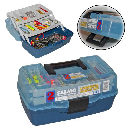 Ящик Рыболовный Пласт. Salmo 2Х-Пол. 02 Мал.Ящики рыболова<br>Ящик рыболов. пласт. Salmo 2х-пол. 02 мал. разм.305x185x150мм/вес <br>0,8кг Эконом-версия ящика с подъёмными полками. <br>Ящик более компактен и имеет меньший вес <br>по сравнению с аналогами. Оборудован двумя <br>подъёмными полками.<br><br>Сезон: Летний