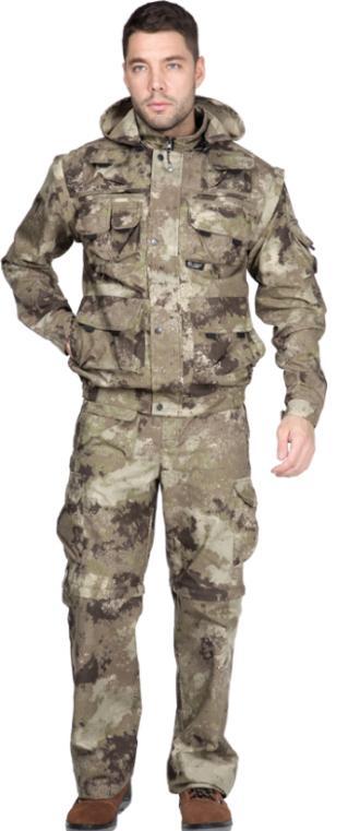 Костюм Sobol ТРОФЕЙ NEW, пустыняКостюмы неутепленные<br>Изготовлен из ткани рип-стоп, которая отличается <br>прочностью, обеспечивает защиту от дождя <br>и ветра. Отлично подойдет для охоты и рыбалки. <br>В комплект входит куртка и брюки. КУРТКА: <br>- застегивается на молнию с ветрозащитным <br>клапаном; - нагрудные накладные карманы; <br>- нижние накладные карманы; - регулируемый <br>капюшон; - отстегивающиеся рукава; - регулируемые <br>манжеты; - эластичный низ куртки. БРЮКИ: <br>- шлевки на поясе; - застежка - гульф на тесьму-молнию; <br>- боковые карманы; - накладные карманы; - <br>задние карманы с застеждкой на кнопку; - <br>регулируемая ширина брюк; - отстегивающийся <br>низ.<br><br>Пол: мужской<br>Размер: 96-100<br>Рост: 170-176<br>Сезон: лето<br>Цвет: бежевый