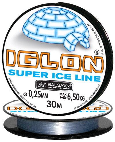 Леска BALSAX Iglon 30м 0,25 (6,5кг)Леска монофильная<br>Леска Iglon - создана специально для зимней <br>ловли. Очень хорошо выдерживает низкую <br>температуру. Поверхность обработана таким <br>образом, что она не обмерзает как стандартные <br>лески. Отлично подходит для подледного <br>лова. Даже в самом холодном климате, при <br>температуре до -40, она сохраняет свои свойства.<br><br>Сезон: зима