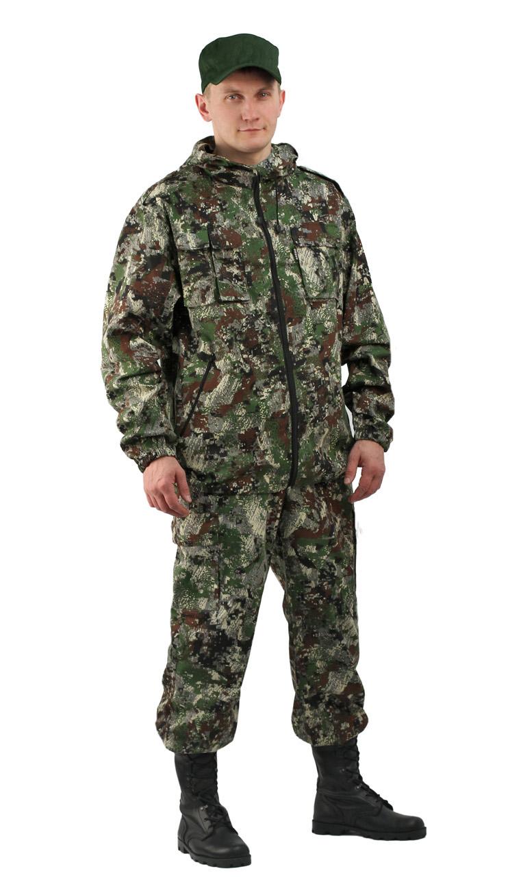 Костюм мужской Турист 2 летний кмф Твилл Костюмы неутепленные<br>Камуфлированный универсальный летний <br>костюм для охоты, рыбалки и активного отдыха <br>. Состоит из удлинённой куртки с капюшоном <br>и брюк. Куртка: • Регулируемый капюшон. <br>• Центральная застежка молния. • Нагрудные <br>объемные накладные карманы и боковые прорезные <br>карманы на молнии. • Манжеты на резинке. <br>• Для большего комфорта под проймой имеются <br>вентиляционные отверстия Брюки: •Гульфик <br>брюк на молнии. На поясе брюк вставки из <br>эластичной ленты. •Низ штанин регулируется <br>эластичным шнуром. •Удобные объёмные боковые <br>карманы • Фукциональная сумка для хранения <br>костюма.<br><br>Пол: мужской<br>Размер: 60-62<br>Рост: 170-176<br>Сезон: лето<br>Материал: Смесовая (65% полиэфир, 35% хлопок), пл. 210 г/м2,